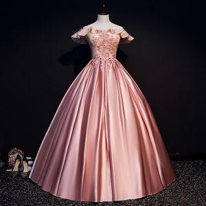Elegante Pink Ballkleider 2019 Ballkleid Off Shoulder Perlenstickerei Applikationen Spitze Blumen Pailletten Kurze Ärmel Rückenfreies Lange Festliche Kleider