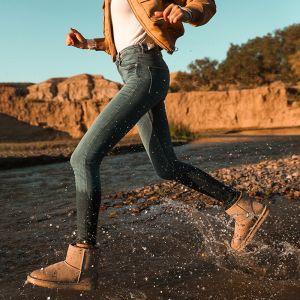 Schlicht Freizeit Khaki Schneestiefel 2020 Wasserdichte Leder Ankle Boots Winter Flache Runde Zeh Stiefel Damen
