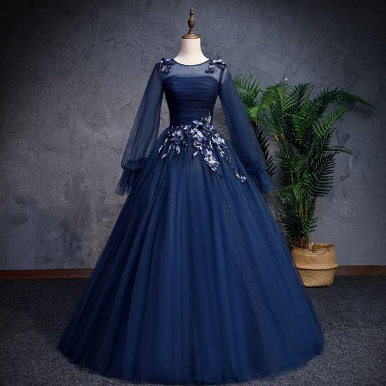 Vintage Marineblau Ballkleider 2019 A Linie Rundhalsausschnitt Perlenstickerei Applikationen Spitze Blumen Lange Ärmel Rückenfreies Lange Festliche Kleider