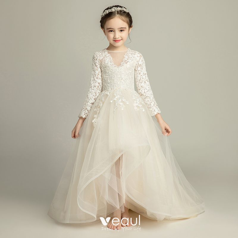 Flower Girl Bridesmaid Dresses: Chic / Beautiful Champagne Flower Girl Dresses 2019 A-Line