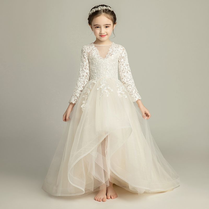 Chic / Beautiful Champagne Flower Girl Dresses 2019 A-Line / Princess See-through V-Neck Long Sleeve Appliques Lace Sweep Train Ruffle Wedding Party Dresses