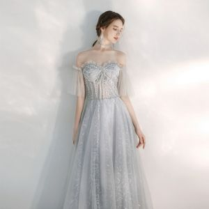 Illusion Silver See-through Evening Dresses  2020 A-Line / Princess Off-The-Shoulder Bell sleeves Sequins Beading Floor-Length / Long Ruffle Backless Formal Dresses