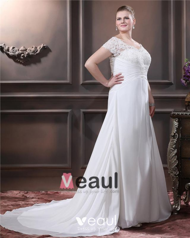 A-Line V Neck Short Sleeve Sweep Satin Organza Lace Plus Size Wedding Dress