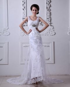 Satin Tulle V Neck Applique Beading Court Sheath Bridal Gown Wedding Dress