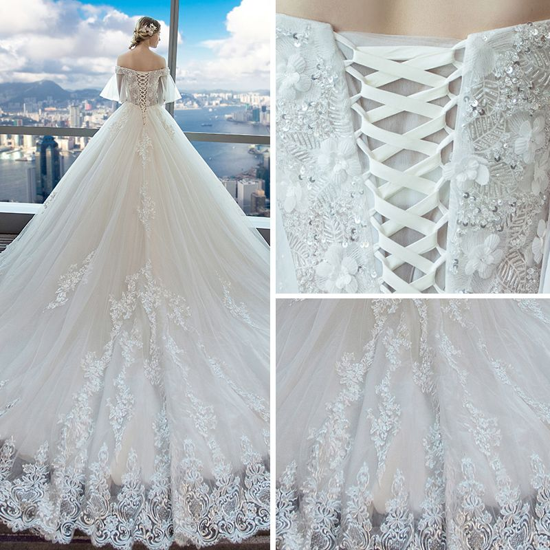 Elegant Ivory Wedding Dresses 2018 Ball Gown Off-The-Shoulder 1/2 Sleeves Backless Beading Sequins Appliques Lace Cathedral Train Ruffle