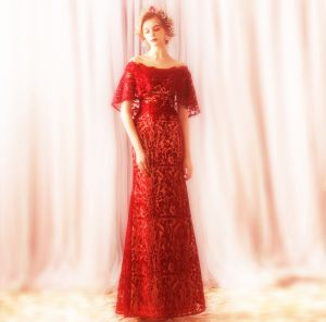 Charming Red Floor-Length / Long Evening Dresses  2018 Trumpet / Mermaid Tulle U-Neck Appliques Backless Beading Evening Party Formal Dresses
