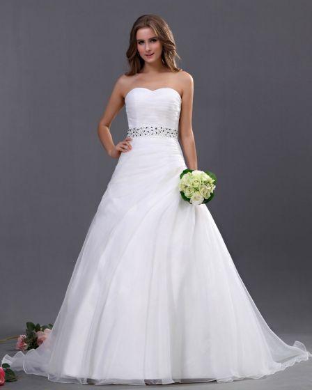 Organza Parla Utsmyckning Alskling Kapell A-linje Brudklänningar Bröllopsklänningar