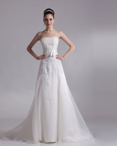 Strapless Applique Floor Length Organza Empire Wedding Dress