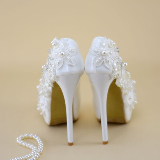 Chic / Beautiful White Wedding Shoes 2019 Appliques Pearl Crystal 14 cm Stiletto Heels Round Toe Wedding Pumps
