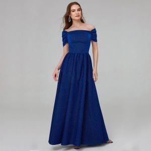 Hermoso Azul Real Vestidos de madrina 2020 A-Line / Princess Largos Manga Corta Sin Espalda Rebordear Lentejuelas Boda Noche Vestidos para bodas