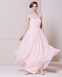 Strapless Neckline Floor Length Beading Sleeveless Charmeuse Woman Evening Dress