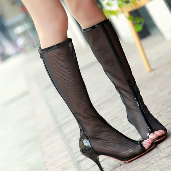 Amazing / Unique Casual Womens Boots 2017 Tulle Pierced High Heel Open / Peep Toe Mid Calf Boots