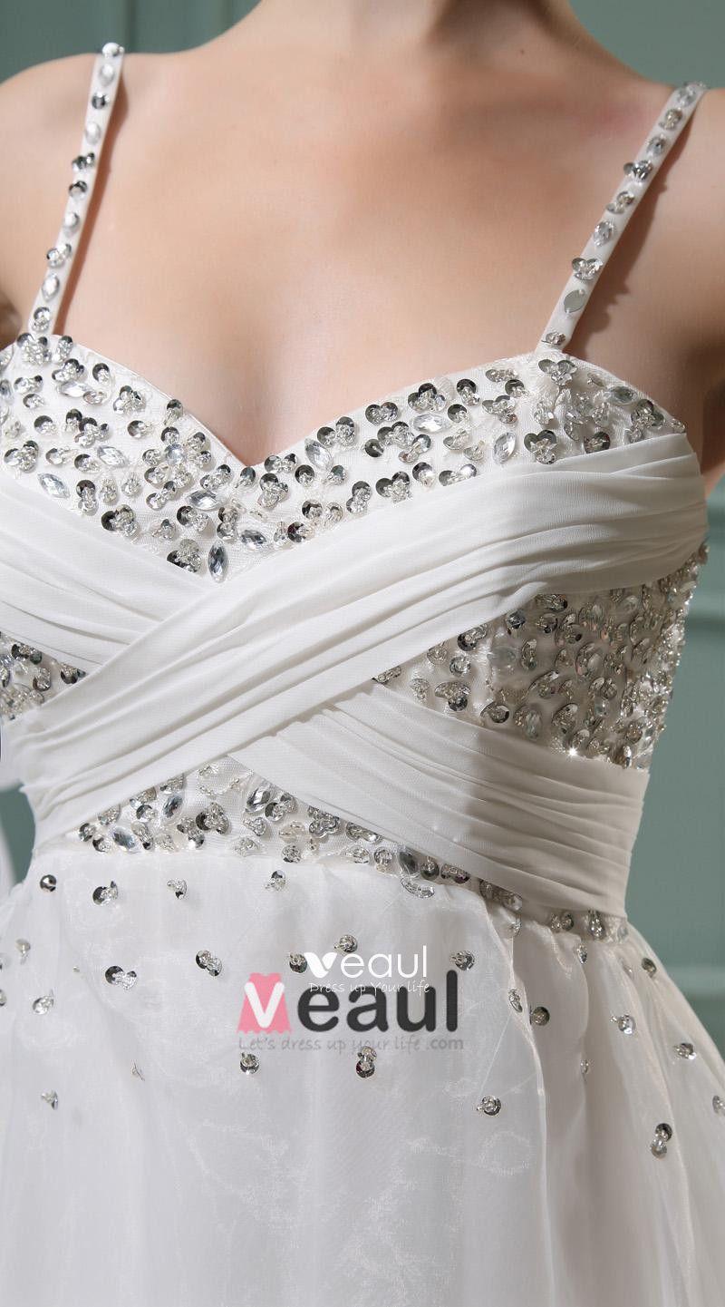 Lace Beading Spaghetti Straps Sleeveless Zipper Pleated Mini Wedding Dress