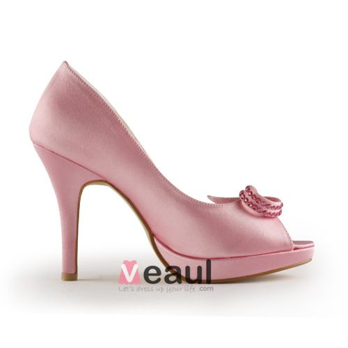 Cute Pink Bridal Shoes Satin Stilettos Peep Toe Pumps With