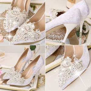 Chic / Beautiful 2017 9 cm Red White Church Satin Chiffon Rhinestone High Heels Stiletto Heels Pumps Wedding Shoes