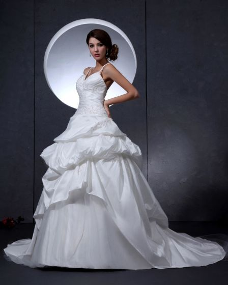 Taffeta Beading Embroidered Court Bridal Ball Gown Wedding Dress