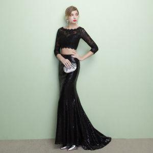 Schöne 2 Stück Schwarz Abendkleider 2017 Mermaid U-Ausschnitt Spitze Applikationen Rückenfreies Abend Festliche Kleider