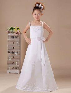 White Appliques Satin Sash Flower Girl Dress