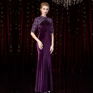 Chinese style Grape Velour Winter Evening Dresses  2020 Trumpet / Mermaid High Neck 1/2 Sleeves Appliques Lace Beading Floor-Length / Long Ruffle Formal Dresses