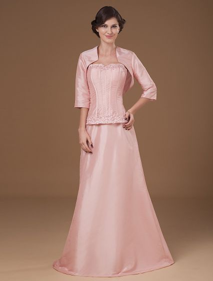 Taffeta Satin Sweetheart Beads Floor Length Mothers of Bride Guests Dresses