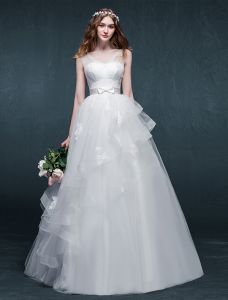 2015 A-line Shoulders Beading Pearls Bow Sash Ruffles Organza Wedding Dress