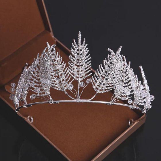Najpiękniejsze / Ekskluzywne Srebrny Rhinestone Kryształ Tiara 2019 Metal Ozdoby Do Włosów Ślubne