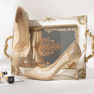 Elegant Beige Wedding Shoes 2019 Leather Lace Flower 8 cm Stiletto Heels Pointed Toe Wedding Pumps