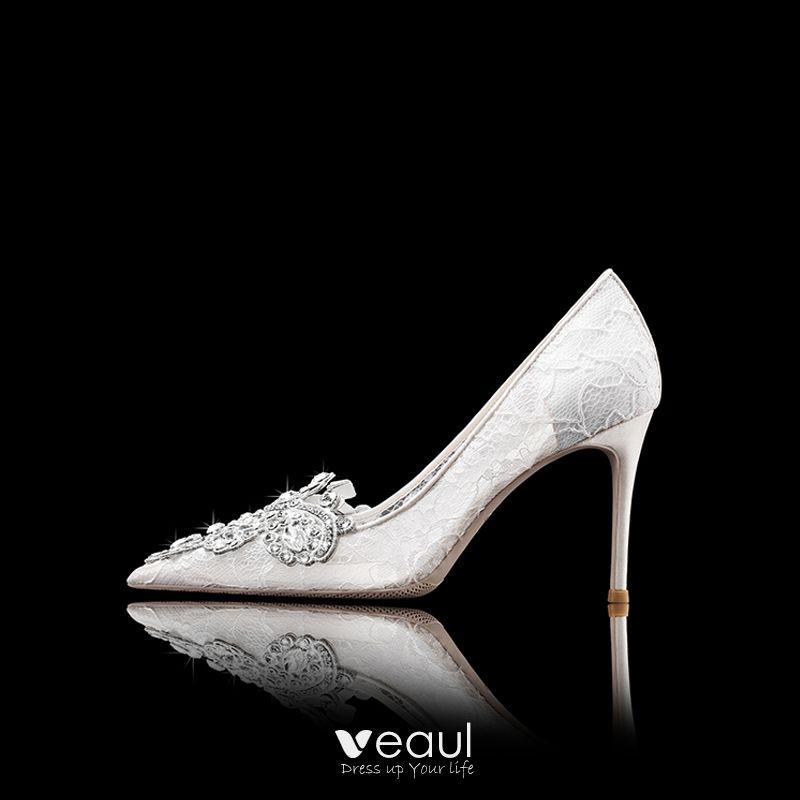 Luxury Gorgeous White Wedding Shoes Wedding Evening Party