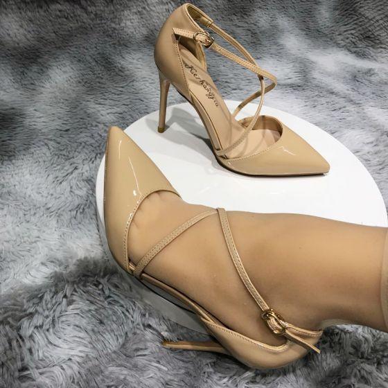 Schöne Nude Strassenmode Sandalen Damen 2020 X-Riemen 10 cm Stilettos Spitzschuh Sandaletten