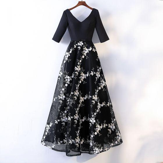 Piękne Czarne Sukienki Wieczorowe 2017 Princessa Z Koronki Aplikacje Kokarda V-Szyja Bez Pleców 1/2 Rękawy Długość Kostki Sukienki Wizytowe