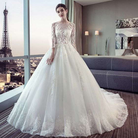 Chic / Beautiful Ivory Wedding Dresses 2018 Ball Gown See-through Lace Appliques Scoop Neck Backless 3/4 Sleeve Court Train Wedding