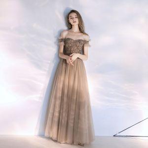 Chic Champagne Robe De Soirée 2020 Princesse De l'épaule Perlage Cristal Sans Manches Dos Nu Longue Robe De Ceremonie
