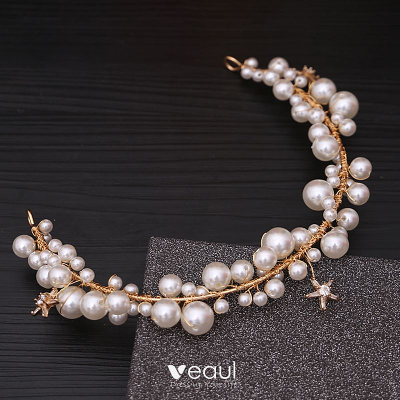 Chic Beautiful Ivory Bridal Jewelry 2020 Metal Pearl Earrings