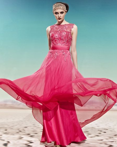 Scoop Neck Embroidery Beading Sleeveless Empire Floor Length Charmeuse Woman Evening Dress