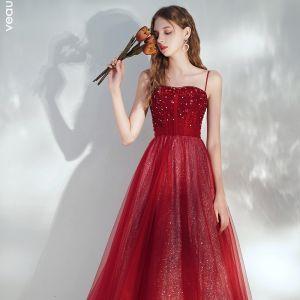Elegant Burgundy Evening Dresses  2020 A-Line / Princess Spaghetti Straps Sleeveless Sequins Beading Glitter Tulle Floor-Length / Long Ruffle Backless Formal Dresses