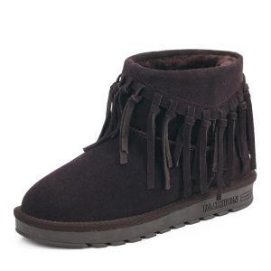 Mode Stiefel Damen 2017 Schokolade Leder Ankle Boots Wildleder Quaste Freizeit Winter Flache Schneestiefel
