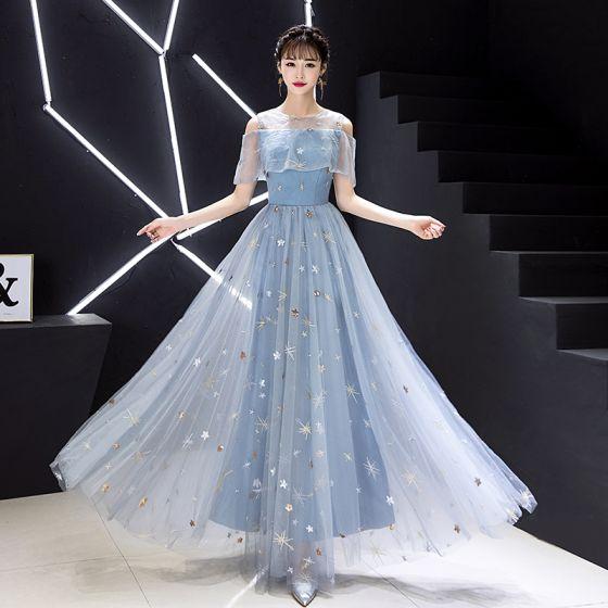 Elegant Himmelen Blå Selskapskjoler 2019 Prinsesse Scoop Halsen Blonder Paljetter Appliques Korte Ermer Lange Formelle Kjoler