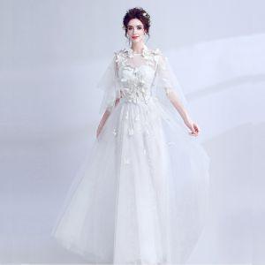Schöne Weiß Abendkleider 2018 U-Ausschnitt Tülle Schmetterling Applikationen Rückenfreies Abend Festliche Kleider