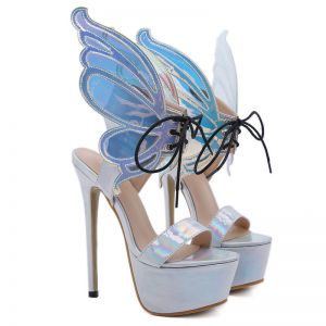 Unique Silber Schmetterling Laser Karneval Club Sandalen Damen 2020 16 cm Stilettos Peeptoes Sandaletten
