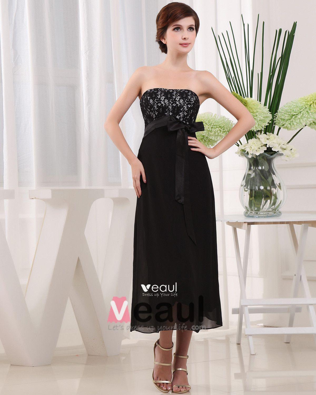 Strapless Sleeveless Zipper Belt Tea Length Chiffon Lace Satin Mother of the Bride Dress