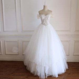 Chic / Beautiful White Wedding Dresses 2018 Ball Gown Lace Flower Beading Pearl Rhinestone Detachable Off-The-Shoulder Backless Sleeveless Floor-Length / Long Wedding