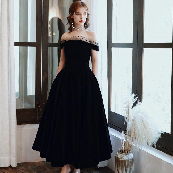 Elegant Black Prom Dresses 2020 A-Line / Princess Spotted Off-The-Shoulder Suede Sleeveless Backless Tea-length Formal Dresses