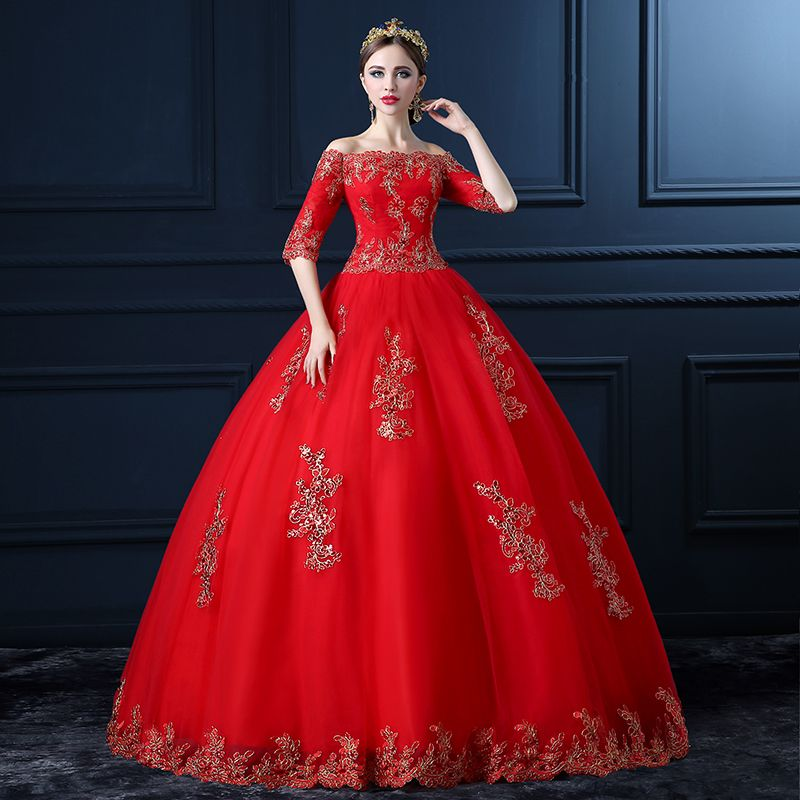 Amazing / Unique Formal Dresses 2017 Ball Gown Lace Flower Backless Off-The-Shoulder 1/2 Sleeves Floor-Length / Long Prom Dresses