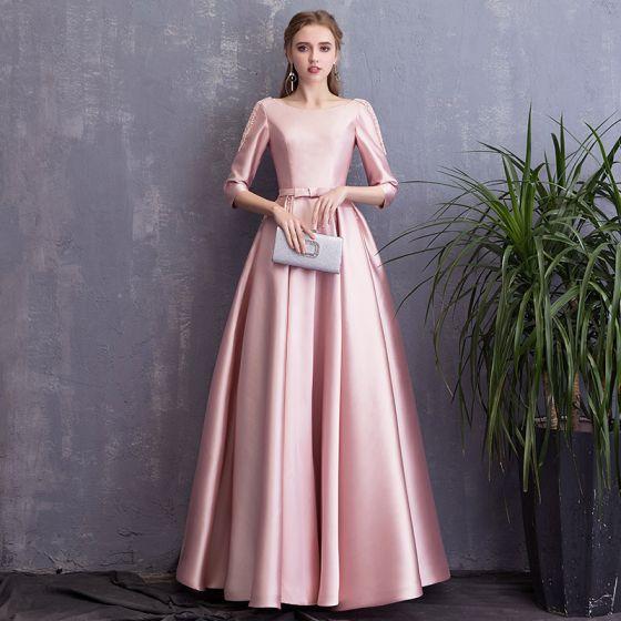 Hermoso Rosa Vestidos de noche 2018 A-Line / Princess Bowknot Perla Scoop Escote Sin Espalda 3/4 Ærmer Largos Vestidos Formales