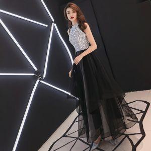 Mode Schwarz Abendkleider 2019 A Linie Rundhalsausschnitt Pailletten Ärmellos Lange Festliche Kleider