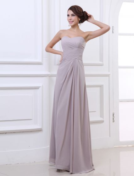Sweetheart Floor Length Pleated Chiffon Woman Evening Party Dress