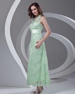 Halter Perlen Knöchellänge Spitze Mutter Der Braut Kleid