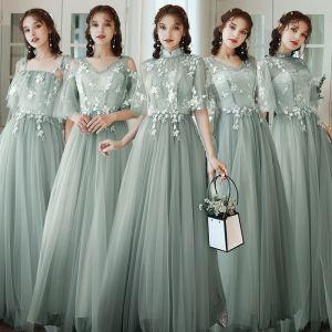 Niedrogie Szałwia Zielony Sukienki Dla Druhen 2020 Princessa Aplikacje Z Koronki Bez Pleców Długie