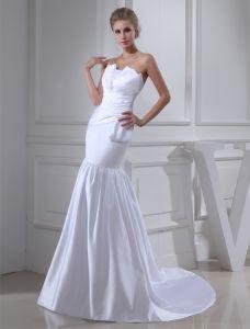 Gaine Bretelles Longueur De Plancher Plissé Robe De Mariage Simple Robe De Mariée