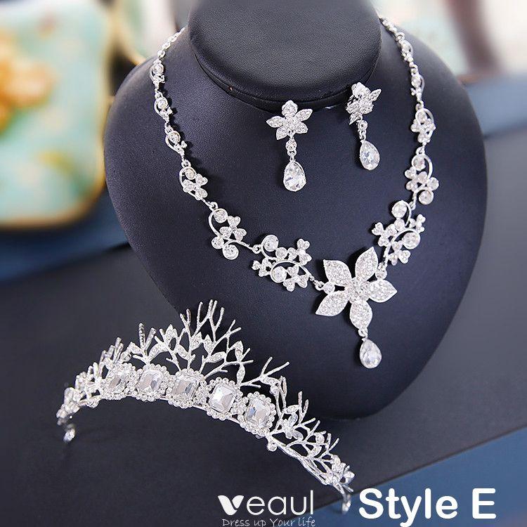 Chic / Beautiful 2017 Red Silver Crystal Rhinestone Metal Tiara Bridal Jewelry